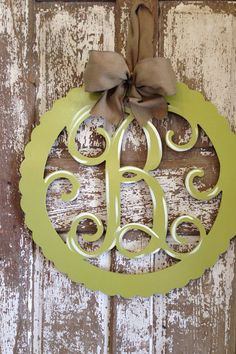 Monogrammed Wooden Wreath / Hanger by SouthernStyleGifts on Etsy