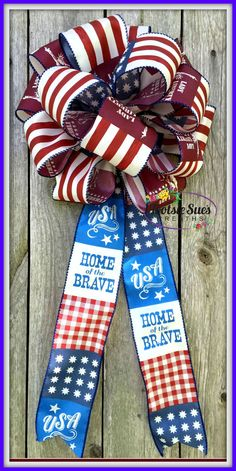 BowRed White Blue Patriotic Ribbon BowMail by TootsieSuesWreaths