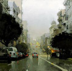 Jeremy Mann (San Francisco) 'Evening Fog In Blue & Green'