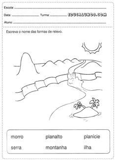 Escreva o nome das formas de relevo