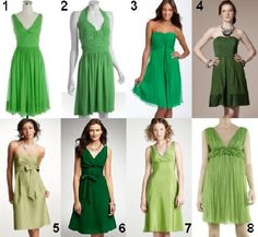 the dresses themselves aren't very cute, but i like all the mismatched green!