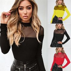 62b03ee83af7 Hot sexy women bodysuits rompers Fashion clubwear slim Mesh patchwork  Turtleneck playsuits jumpsuits long sleeve summer