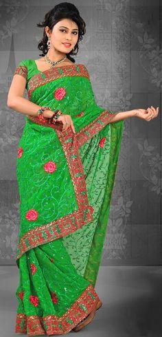 Green Chiffon Resham and Stone Work Saree