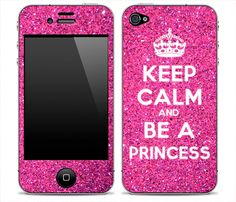 Pink Glitter Keep Calm And Be A Princess iPhone 4 by DesignSkinz, $16.99