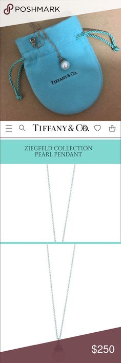 Pearl drop silver necklace Beautiful Gatsby inspired pearl drop necklace from Tiffany & Co. Packaged in the original bag. Tiffany & Co. Jewelry Necklaces