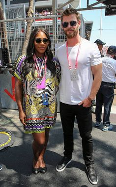 Serena Williams & Chris Hemsworth from The Big Picture: Today's Hot Photos  The superstar athleteand actor are seen at theF1 Grand Prix in Monaco.