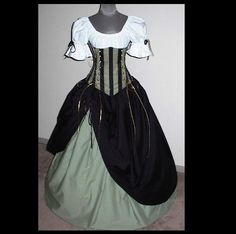Limited Supply - Choose Size -Mysterious Maiden Chemise Top, Under Bust Corset and Two Full Skirts. $234.99, via Etsy.