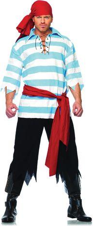 Pirate Costume: Loose pants (cut off sweat pants), striped top, sash and bandana.