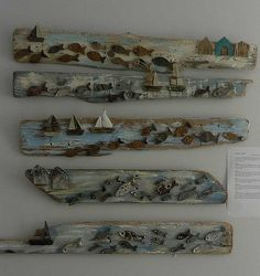 Exhibited at St Aubins Craft Market Pottery Fish and Boats on Driftwood