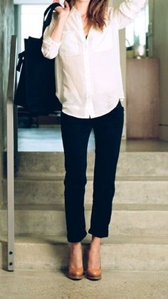 white button-up, black skinny chinos & nude wedges
