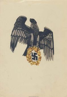 German NS postcard, one can never have too many eagles