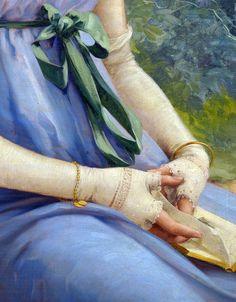 A sweet glance, 1919, detail. Émile Vernon.