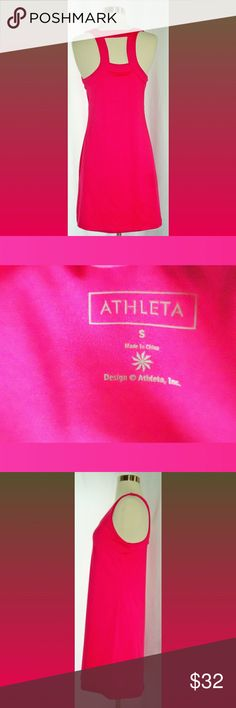 Athleta Hot Pink Rosebloom Racerback Dress Sz S Athleta Dress   Size: Small  Includes built-in bra  Has stretch  Shell: 88% Polyester 12% Spandex  Cut out at the top of back  Length: 33 inches  Made in China Athleta Dresses Mini
