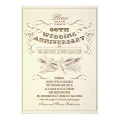 vintage typography aged anniversary invitations