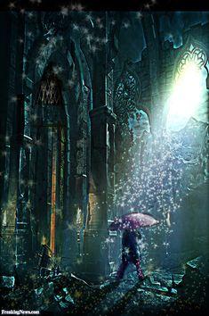 Woman Under Star Rain