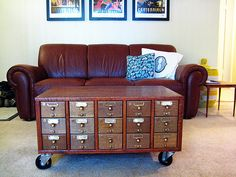 """""""Library Card Catalog coffee table"""" or 'add wheels to anything'"""