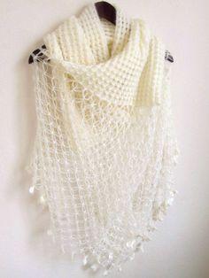 Bridal Shawl OFF-WHITE -Ivory Mohair Honey Comb Shawl-wedding bridal shawl.knitting,necktie,shrug, wrap, stole, capelet, cream, scarflette,. $85.00, via Etsy.
