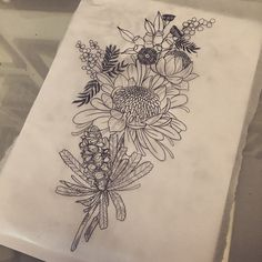Early morning drawing time :) Native flowers for Chloe. J Tattoo, Mom Tattoos, Sleeve Tattoos, Tatoos, Floral Tattoo Design, Tattoo Designs, Tattoo Ideas, Back Tattoo Women, Tattoos For Women