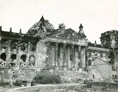 This picture of the Reichstag was taken after the end of the war, and shows the extent to which the building was damaged