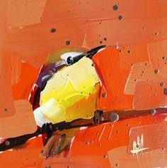Yellow Chat no. 5 original bird oil painting by Angela Moulton prattcreekart