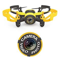 Hasakee Mini RC Helicopter Drone 2.4Ghz 6-Axis Gyro 4 Channels Quadcopter With Camera,Headless Mode,Yellow Bee