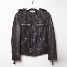 "ISABEL MARANT ÉTOILE ""Kady"" Leather Jacket ISABEL MARANT ÉTOILE ""Kady"" Leather Jacket - Never Worn - Comes w/ original dust bag, no tags - Poshmark can do authenticity check  Tagged: Euro 36 - Equivalent to US 0-2 or XS/S  The designer's famed, moto-inspired leather jacket with a quilted yoke & slim fit in super soft, distressed lambskin. An elevated take on classic biker styling. - Fitted silhouette - Concealed zip front closure - Snap-fastening epaulets - Exposed zip pockets at chest & wai..."