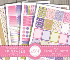 Printable Planner Stickers, Erin Condren Vertical Planner Stickers, Planner Printables, Weekly Planner Kit, Weekly Stickers, Floral Stickers
