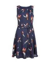 Mela Blue Feather and Bird Print Dress  | New Look