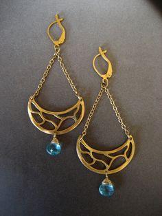 Blue apatite branch chandelier earrings by ELFIROOSE on Etsy, $72.00