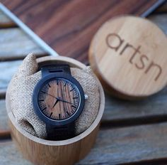 the icon/// black leather strap matched with a handmade real wooden case + a custom artsn bamboo box quartz movement diameter thick 3 atm water resistant UNISEX Bamboo Box, Wooden Case, Wood Watch, Black Leather, Quartz, Unisex, Handmade, Jewerly, Babe
