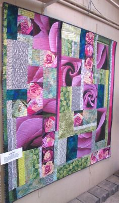 Lilac Rose by Diana McClun, for Kerby Smith, photographer of Quilts! Quilts!! Quilts!!! 3rd edition.  The lilac rose image is a photograph b...