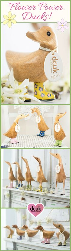 Flower power is bang on trend this Summer, so if you are looking for quacking home accessories or gifts with a floral feel take a peek at our Floral Ducks! Available in three sizes and five colour options each is hand carved, hand painted and can be personalised with the name of your choice on its tag. See more at The Duck Company, DCUK