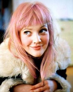 Drew Barrymore, pink hair, shearling coat - beauty inspiration for GLOWLIKEAMOFO.com