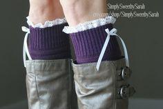 Purple Ribbed Boot Sock Leg Warmers by SimplySweetbySarah on Etsy, $25.00