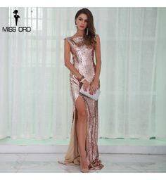 9ad12be1a Vestido Longo Miss Ord Dourado Lantejoulas Sem Mangas - Compre Agora | Shopping  City - Seu estilo o que Importa !