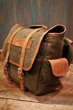 Elkton Messenger Satchel Canvas Bag - Waxed Canvas Leather Trim by Buffalo Jackson Trading Co
