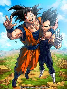 Aqui se ve en esta imagen que goku y vegeta se abrazan los dos haciendo poses como buenos amigos