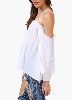 wholesale Chic White Long Sleeve Boat Neck T Shirt