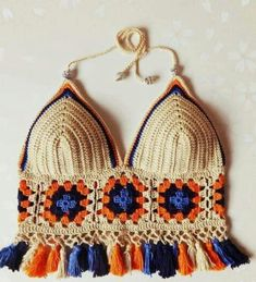 Swimsuit, handmade crochet bra made of cotton and natural wool - Knitwear bra summer comfortable bra bra Tops A Crochet, Mode Crochet, Crochet Granny, Knit Crochet, Crochet Squares, Granny Squares, Crochet Bikini Top, Crochet Blouse, Crochet Woman