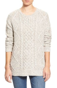 Free shipping and returns on Treasure&Bond Cable Knit Sweater at Nordstrom.com. Nep-speckled color updatesa classic cable-knit sweater infused with the lightweight warmth of wool. Therelaxed silhouettemakes it a versatile layering piece for a chic, put-together look.When you buy Treasure&Bond, Nordstrom will donate 2.5% of net sales (that's 5% of net profits) to organizations that work to empower youth.