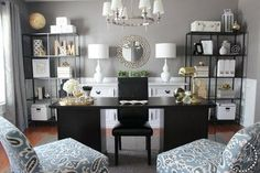 Home Office Inspiration | Farmhouse Chic | Gray walls