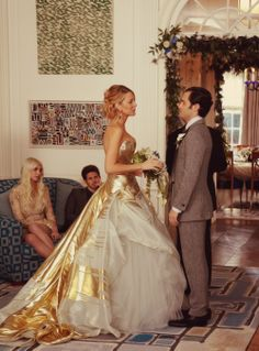 Gold dress (damn it Gossip Girl I want everything about this wedding)