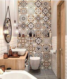 "Polubienia: 8,189, komentarze: 43 – Vibeke J Dyremyhr (@interior_delux) na Instagramie: ""Nr 3! ✨ We love the wall tiles 🌟🔝 #bathroom #bathroomdesign #walltiles #tiles #baderom…"""
