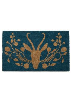 Home at Last Doormat in Antelope - Green, Tan / Cream, Dorm Decor