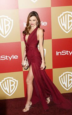 Miranda Kerr in a thigh high slit Zuhair Murad low plunge dress at the Golden Globe 2013 Awards After Party.