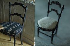 ミニチュアの椅子を作っています。左が我が家の椅子。右が今回製作したミニチュア椅子。「本物と同じように座面も布張りにしてみたら?」と主人。布を使った試作品。...