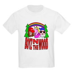 Boyz In The Wood T Shirt  #parody #spoof #fantasy #mythology #apeman #sasquatch #monkey #bigfoot #unicorn #dwarf #gnome #rainbow #cartoon #characters #funny #humor #drawing #illustration #shirts #kids