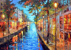 Magical night -  Wall Art Contemporary Oil palette knife Painting by Dmitry Spiros, 24x32 in, 60x80cm by spirosart on Etsy