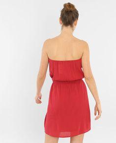 Korte strapless jurk fuchsiaroze