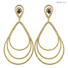 18k Solid Yellow Gold Pave With Natural Diamond Dangle Drop Earrings Fine Jewelry ...